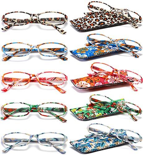 VEVESMUNDO Lesebrille Damen Herren Modern Federscharnier Blumen Lesehilfe Sehhilfe Brille Vintage mit Tasche 1,0 1,25 1,5 1,75 2,0 2,25 2,5 2,75 3,0 3,5 4,0 (Lesebrillen 5 Stück(mehrfarbig), 2.0)