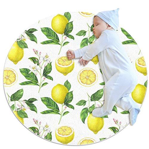 PLOKIJ Tapis rond antidérapant pour enfants - Lavable - Motif citron jaune (2)
