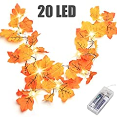 Set of 20 LED lights and 8.2 feet. Requires 2 AA batteries, not included. LOOKS LIKE THE REAL FALLEN LEAVES- The orange and yellow leaves lit by the vibrant orange lights make for a great blend of colors to warm up any room. Perfect festival decorati...