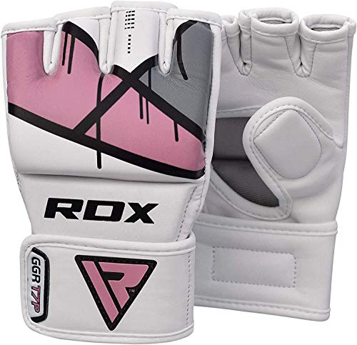 RDX Dames MMA Handschoenen voor Grappling Training Vechtsport   Maya hide leer Sparring Handschoenen   Geweldig voor Kickboksen, Muay Thai, Zandzak, Thaiboksen en Bokszak, Free Fight Ponsen