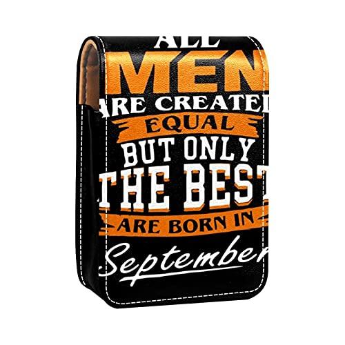 ColorMu Kleine Lippenstift-Tasche mit Spiegel aus Leder Alle Männer sind gleich, Aber nur die Besten Werden im September geboren
