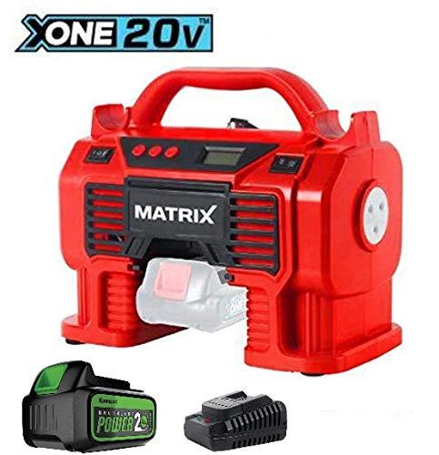 Matrix AC 20V Accu-compressor | X-One Serie | met 4,0 Ah Kawasaki accu, oplader, 11 bar werkdruk | bandenpomp | balnaald