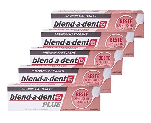 5x Blend a dent Plus Premium Haftcreme KRÜMELSCHUTZ 40g für Voll und Teilprothesen