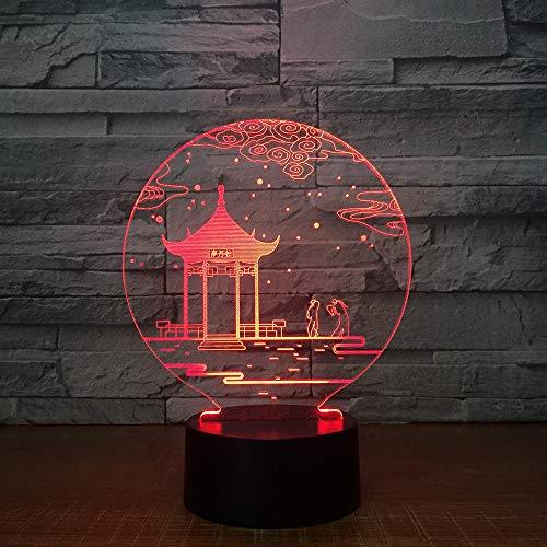 Chinesischer Pavillon 3D LED Illusion Light 7 Farbwechsel Touch und Fernbedienung Konsole Lichter für Kinder Weihnachtsgeschenke und Spielzeug Lichter USB-Stecker