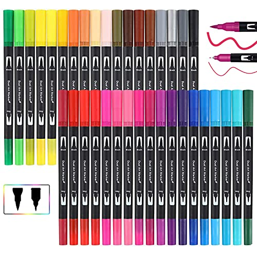 Dual Brush Pen Set, MISDUWA 36 Farben Pinselstifte mit Zwei Spitzen Doppelfasermaler Filzstifte 0,4 mm Fineliner und 1-2 mm Fasermaler Aquarellpinsel