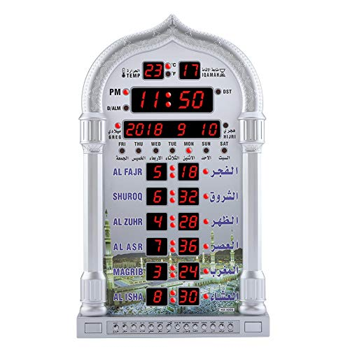 TOPINCN Reloj de oración Automático Islámico Reloj de Alarma de Oración Digital Retroiluminación Pantalla LCD Reloj de Pared Home Room Decor Enchufe de UE de Plata