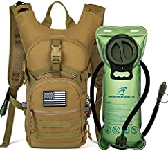 SHARKMOUTH Tactical MOLLE Hydration Pack Backpack 900D with 2L Leak-Proof Water Bladder, Keep Liquids Cool for Up to 4 Hours, Outdoor Daypack for Cycling, Hiking, Running, USA Flag Patch, Desert Clay