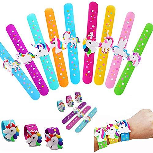 Dusenly 6 Pcs Unicorn Slap Bracelet Silicone Wristbands & Unicorn with Star Prints,On Wristbands Birthday Party Favors Children (Random Color)