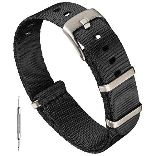 Benchmark Basics Black 20mm Seatbelt NATO Strap - Premium Waterproof Ballistic Nylon Watch Band for Men & Women - Heavy Duty Hardware