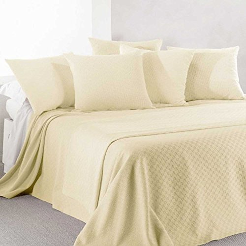 Caleffi Rodeo Tagesdecke aus Piqué-Baumwolle, nicht gesteppt, für Doppelbett, elfenbein