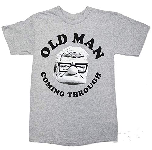 Disney Pixar Carl Old Man Coming Through up T-Shirt (Large, Grey Heather)