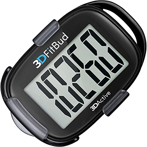 3DFitBud Simple Step Counter Walking 3D Pedometer with Clip and Lanyard, A420S (Black with Clip)