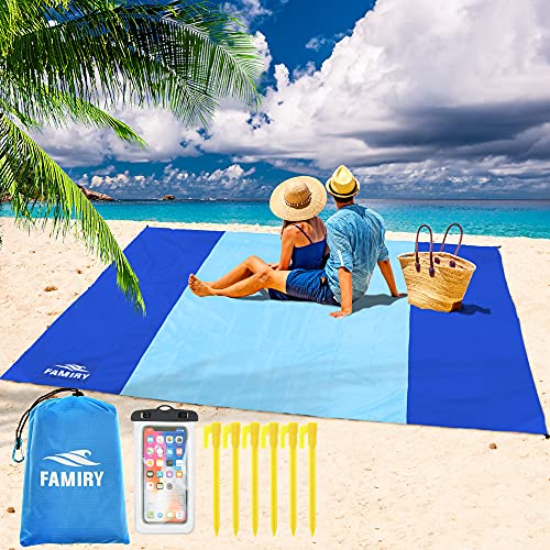Famiry Sand Free Beach Blanket, Extra Large 10 x 9 Feet Size, Durable & Compact Beach Outdoor Mat, Includes 6 Stakes, 4 Sand Pockets & Zippered Pocket - Blue