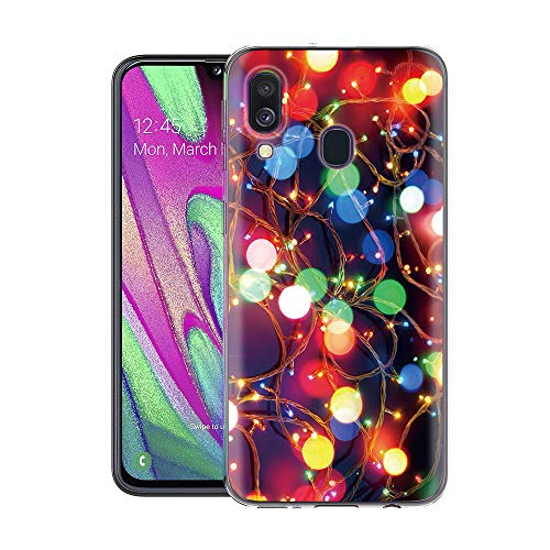 ZhuoFan Samsung Galaxy A40 hoesje, telefoonhoesje helder met kerstpatroon, Bumper Hoes, for Samsung Galaxy A40, Gekleurde lampen