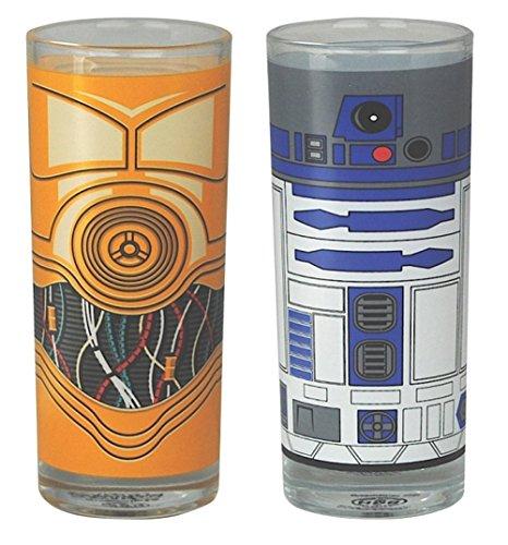 STAR WARS–Bicchieri da birra Set di 2–350ml–R2D2& C3PO–confezionato in una confezione regalo.