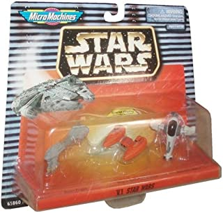 Star Wars Year 1997 Micro Machines Collection 6 Micro Vehicles - Escort Frigate, Bespin Twin Pod Cloud Car and Boba Fett's Slave 1
