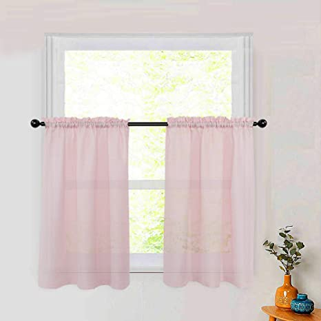 Amazon Com Pink Tier Curtains 24 Inch Kitchen Curtain Tiers Semi Sheer Cafe Curtains Rod Pocket Bathroom Short Small Window Curtain Panels Casual Weave 2 Panels Kitchen Dining