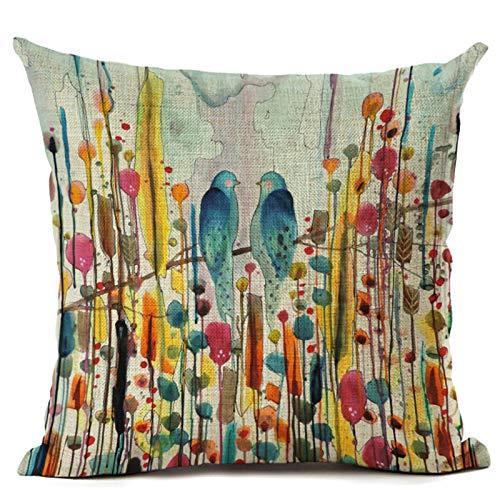 MMHJS Funda De Almohada Decorativa De Lino De Flores Y Pájaros, con Cremallera Y Material Lavable, Funda De Almohada para Sofá De Casa