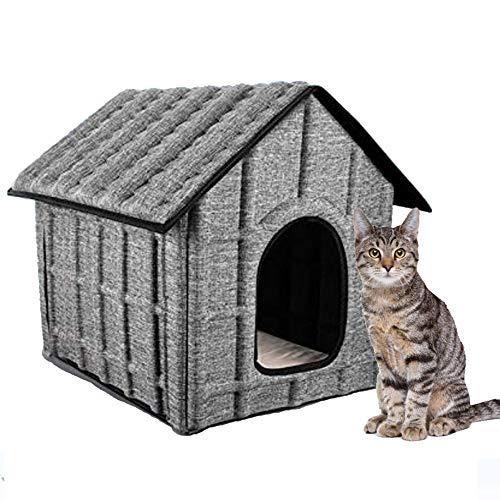 Casa caseta para gato exterior o interior, material impermeable + cama interior...
