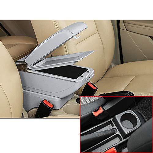 Muchkey de Voiture Accoudoir Boîte avec USB pour 2006–2011 Yaris Vitz Hatchback Housse Accoudoir Console Centrale Cuir PU Accessoires de décoration d'intérieur Gris