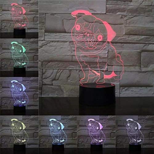 Animal Pet Pug Dog 3D Lamp Illusion Night Light LED Bulb Multicolor Atmosphere Lava Lampara Bedside Christmas Gifts for Children
