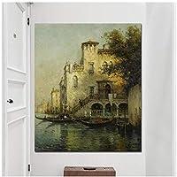 静物画ラウンド抽象油絵をキャンバスに印刷アート壁の写真リビングルームの壁アートポスター家の装飾-50x150cmx1フレームなし