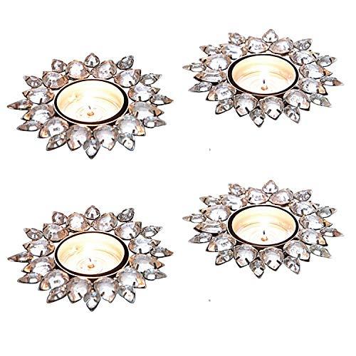 Loberon Teelichthalter 4er Set Macie, Weihnachtsdeko, Eisen, Ornamente: Glas, H/Ø ca. 3/8 cm, Silber