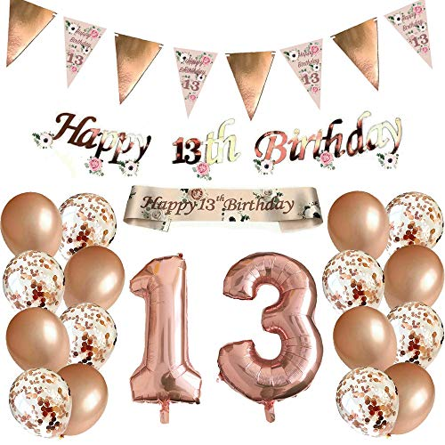 Blue Planet Fancy Dress 13th Birthday Decorations Rose Gold Floral Bunting Garland, Foil Banner, Sash, Number, 16 Confetti Balloons for Women Girls Happy Birthday Party 13