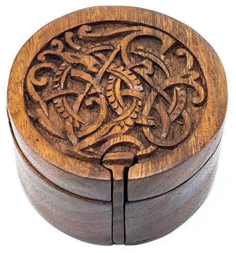Windalf - Joyero vikingo (diámetro: 9 cm, hecho a mano de madera)