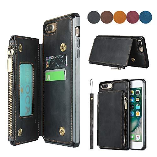 SailorTech Custodia Portafoglio per iPhone 6/7/8 Plus Premium PU Custodia in Pelle Zipper Tasca Posteriore con Slot per Carte Cinturino da Polso Nero