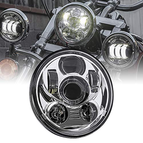 5.75' 5-3/4 Harley LED Headlight For Harley Davidson [Chrome-Finish] Round LED Motorcycle Headlight For Dyna Street Bob Super Wide Glide Low Rider Night Rod Train Softail Sportster
