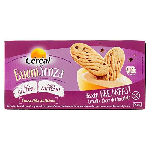 Breakfast Céréal Biscotti senza glutine e lattosio, Biscotti Cereali e Gocce di Cioccolato, con Cacao UTZ- 200 g