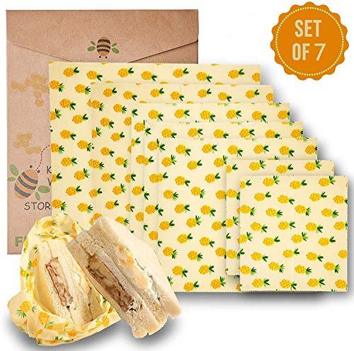 Beeswax Warp Wachspapier, 7er Set Wachspapier Bienenwachstücher aus natürlichem Bienenwachs und Öko-Tex Baumwolle