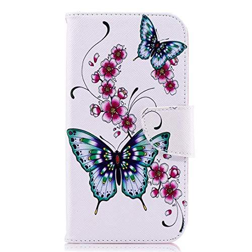 Uposao Kompatibel mit Handyhülle Huawei P20 Handytasche Handy Hüllen Flip Case Cover Schutzhülle Ledertasche Wallet Lederhülle Bookstyle Klapphülle Kartenfächer,Rosa Blumen Butterfly