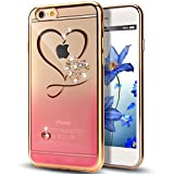 iPhone 6S Case,iPhone 6 Case,NSSTAR Red Love Heart Glitter Bling Crystal Rhinestone Diamonds Clear Rubber Golden Electroplate Plating Frame TPU Soft Silicone Bumper Case Cover for iPhone 6/6S 4.7'