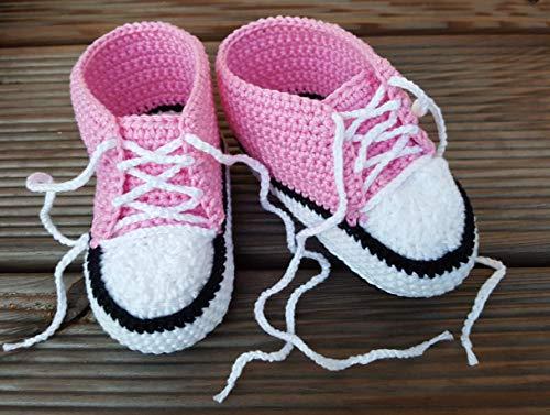 Babyschuhe, Babychucks rosa Schnürschuhe Baby Häkelschuhe Mädchen handgemacht für Neugeborene