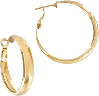 Pierced Earrings Hoop Yellow Gold Tone Lightweight 1 3/8
