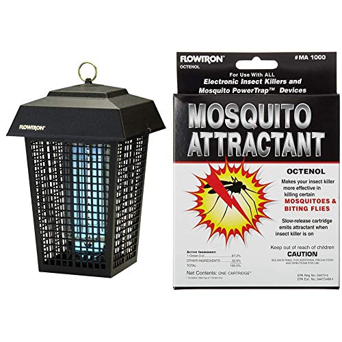 Flowtron BK-40D Electronic Insect Killer, 1 Acre Coverage,Black & MA-1000 Octenol Mosquito Attractant Cartridge