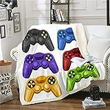 Gamepad Manta de forro polar para cuna cama, sofá de videojuegos, manta difusa, resistente a las manchas, colorido moderno controlador de juego Sherpa manta King 79 x 90 pulgadas aire acondicionado