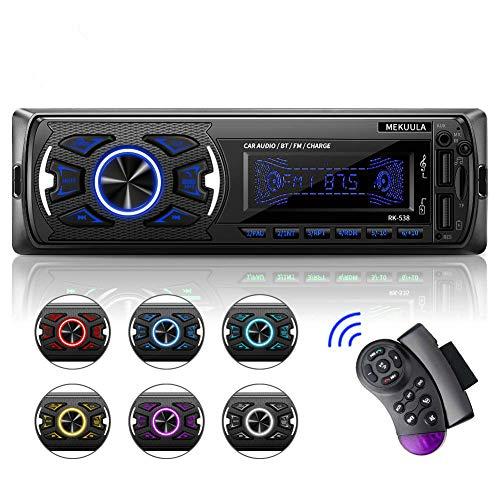 Autoradio Bluetooth, Stereo Auto Bluetooth Vivavoce Ricevitore, MEKUULA Multifunzione 1 din Auto Stereo Lettore MP3, Telecomando SWC e 7 Colori Regolabili Schermo LCD, USB TF SD EQ AUX FM lettore MP3