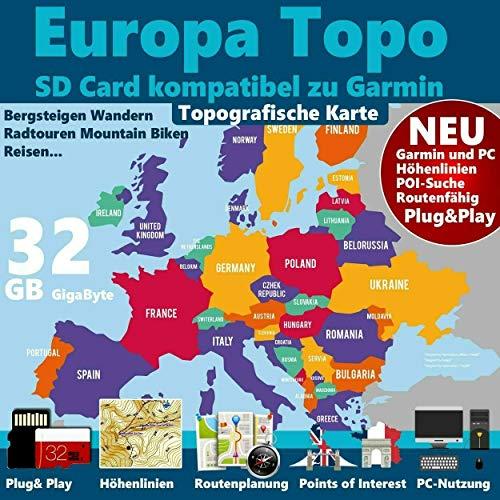 EUROPA Karte Topo Höhenlinien microSD Outdoor Topo Karte - passend für Garmin Etrex 30x, Etrex 32x, Etrex Touch 25, Etrex Touch 35