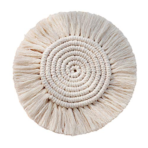 Calayu Cotton Braid Coaster, Wärmeisolierung Rutschfestes handgefertigtes Makramee-Kissen Leicht zu reinigen Waschbar Wiederverwendbar Bohemia Style Cup Mat