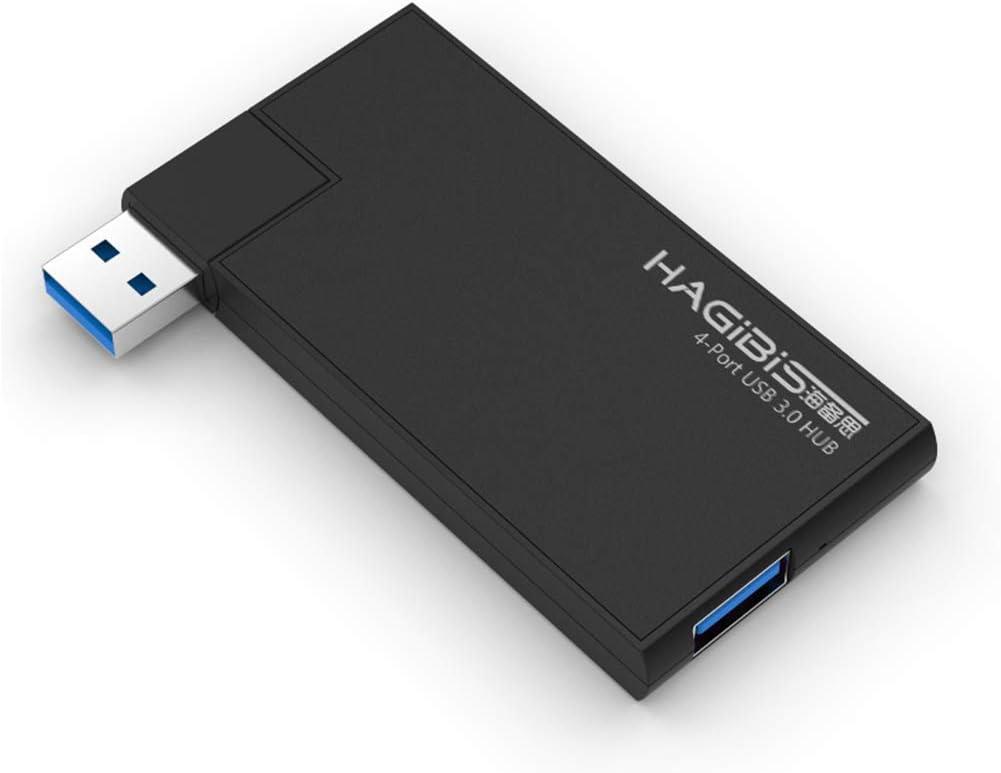 Hagibis USB 3.0 HUB, 180 Degree Rotation Super Speed External 4 Port USB Hub for MacBook Air, Mac Pro/Mini, iMac, Surface Pro, XPS, Notebook, USB Flash Drives, Mobile HDD, Laptop, PC (Black)