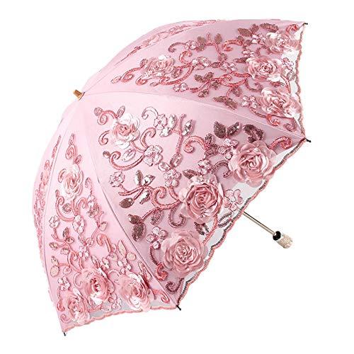 BAJIE Paraguas Plegable Paraguas De Flores De Encaje Protección UV Boda Sombrilla De Lluvia De Doble Capa Sombrilla De Sol De Encaje
