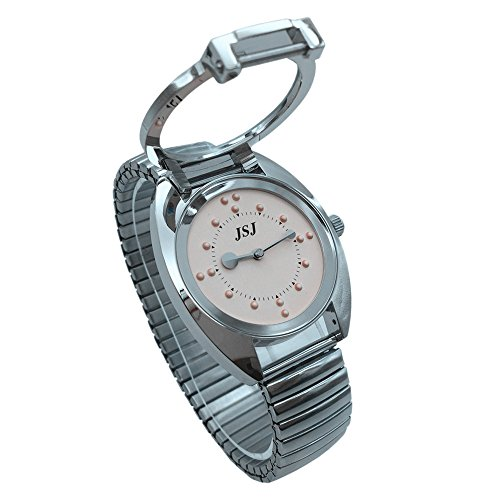 Reloj De Pulsera Braille para Invidentes o Personas Mayores (Rosa Dial, Banda Expandible Acero)
