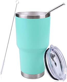 PUTING Stainless Steel Double Wall Vacuum Insulated Tumbler 30 oz For Home, Office, School, Travelling Gift Set (Mint)