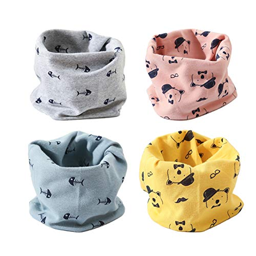 Waysoland 4 Stück Multifunktionstuch Bandanas Kinder,Face Shield Sturmhaube, Bequeme Baumwolle schlauchschal für Jungen Mädchen 3-8 Jahre