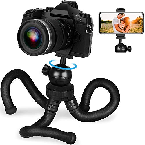 Adofys Flexible Gorillapod Tripod with 360° Rotating Ball Head Tripod for All DSLR Cameras(Max Load 2.5 kgs) & Mobile Phones + Free Heavy Duty Mobile Holder(Black) (12 Inch, Black)