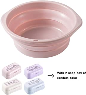 Collapsible Wash Basin with 2 Soap Box,Hanging Plastic Basin for Household,Outdoor and Travel (Large),Pink