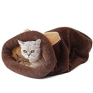Summer-Spider - Saco de Dormir para Gato, Suave, cálido, autocalentable, Color café, Talla M